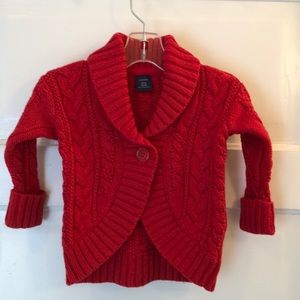 Girl's Baby GAP Red Cable Knit Sweater 18-24 Mo.